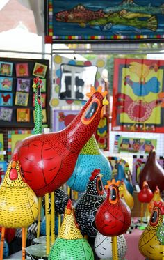 Painted gourd chickens and rooster from TKChighlands.com