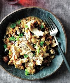 This comforting one-pot meal combines chicken thighs and mushrooms with farro, a nutty, delicious whole grain. Get the recipe for Chicken and Mushroom Farro Risotto.