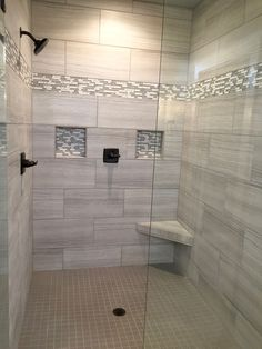 I Like The Big Tiles And The Double Shelves, Not The Corner Seat Though.  Find And Save Ideas About Bathroom Tile Designs