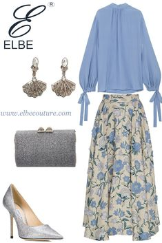 An elegant party look having stunning Luisa Beccaria floral skirt paired with Prada solid colour blouse and metalic accessories giving it royal touch Work Fashion, Skirt Fashion, Fashion Dresses, Fashion Looks, Modest Outfits, Classy Outfits, Chic Outfits, Emo Outfits, Muslim Fashion