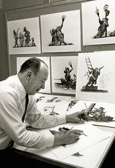 Disney Legend and Imagineer Marc Davis with concept art for Pirates of the Caribbean.  -Yes, this project, long time before becoming the multi-billion dollar Walt Disney Company franchise starring Johnny Depp in Live Action, it was a Animated traditional project, never released... (MP)