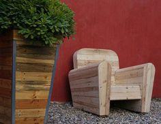 Fauteuil club, bois de palette, bois de récup, déco intérieur/extérieur, mobilier extérieur