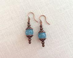 Antique copper bead drops. Blue gemstone by JJewelryDesign on Etsy
