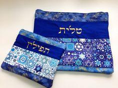 Tallit and Tefilin bags hand made by Ethel Yosifon.