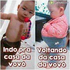 Casa da vovó Funny Baby Memes, Funny Babies, Cute Babies, Funny Quotes, Jokes, Children, Amanda, Google, Anime