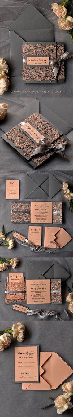 Peach & Grey Lace Wedding Invitations #perfectwedding #weddingideas #lace