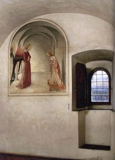 Fra Angelico (1395-1455), these series of his work is often seen out of situ and it really diminishes the beauty of them agains the monastic starkness