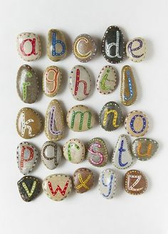 alphabet rocks in which I would make magnets or spell name in garden with...