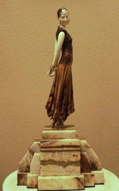 """BOOK LADY"" -BRONZE AND IVORY SCULPTURE"