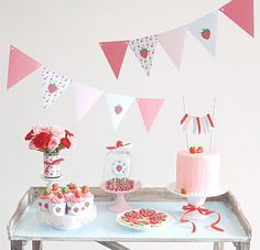 Strawberry Vintage Birthday Party Printables Supplies & Decorations - Lilly is Love Vintage Birthday Parties, First Birthday Parties, Birthday Party Decorations, First Birthdays, Vintage Party, Table Decorations, Party Printables, Printable Invitations, Strawberry Shortcake Party