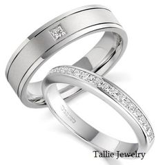 His & Hers Mens Womens Matching 950 Platinum Wedding Bands Rings Set 6mm/3mm Wide Sizes 4-12 Free Engraving New