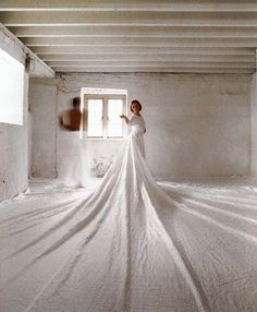 Caroline Broadhead ~ 'The Waiting Game', performance piece, collaboration with Angela Woodhouse, Upper Castle, Kent, 1977, linen