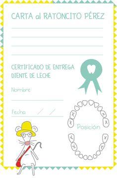 Carta de dientes para el ratoncito Pérez. Para que los niños a los se les están cayendo los dientes de leche puedan escribir una carta al Sr. Pérez. Descargar gratis para imprimir.