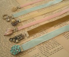 Bookmark Bijoux (ribbons & bling) DIY ... http://velvetstrawberries.typepad.com/andreasingarella/2009/01/bookmark-bijoux.html