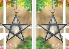 2 Hanging Clear Star Candle Holders Iron Lamps Lanterns