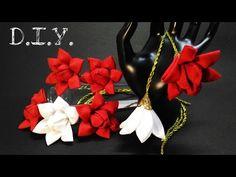 ❀ ♡ ❀ D.I.Y. Kanzashi White Lily - Tutorial ❀ ♡ ❀ - YouTube