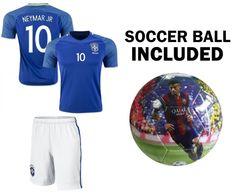 Amazon.com   Neymar Jersey  10 Brazil Youth Home Away Kids Neymar JR Soccer  Jersey + Shorts + Neymar Soccer Ball Size 5 Premium Soccer Gift Brasil  Futbal ... 84fd502b6