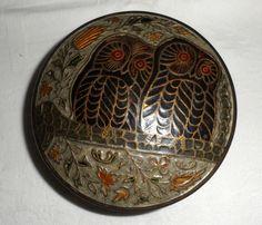 1970s Vintage Solid Round Brass Cloisonne Owl by BYGONERA on Etsy