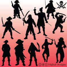 12 Pirate Silhouette Clipart Images Clipart by OMGDIGITALDESIGNS