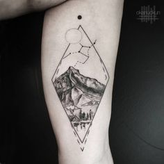 Landscape tattoo on the left inner arm. Tattoo artist: Okan...
