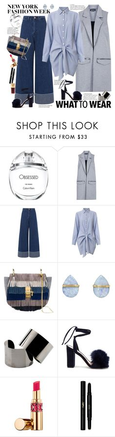 """What to Wear to NYFW"" by ellie366 ❤ liked on Polyvore featuring Calvin Klein, Topshop, Sea, New York, Melissa Joy Manning, Maison Margiela, Loeffler Randall, Yves Saint Laurent, NYFW, stripes and Sleeveless"