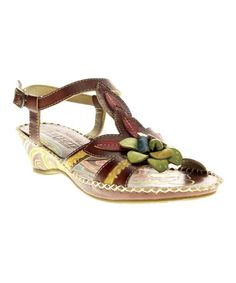 Look what I found on #zulily! Brown Poolside Leather Sandal by L'Artiste by Spring Step #zulilyfinds