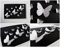 SALE Pride and Prejudice Simple Recycled 3D Butterfly Art - Made to Order - 5x7 $25