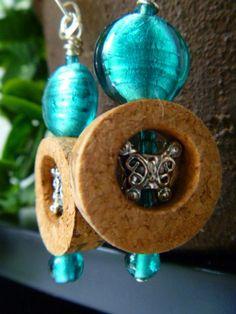 earrings from wine corks..