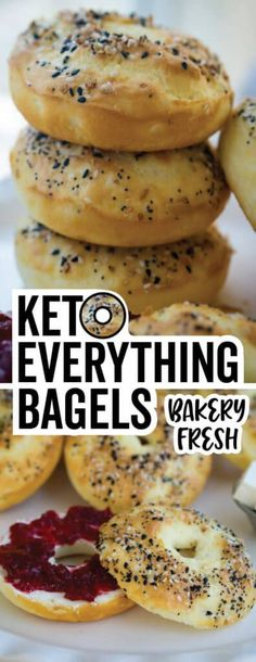 These perfectly seasoned low carb bagels are perfect for breakfast sandwiches! These perfectly seasoned low carb bagels are perfect for breakfast sandwiches! Low Carb Bagels, Keto Bagels, Low Carb Bread, Keto Bread, Low Carb Keto, Low Carb Recipes, Diet Recipes, Healthy Recipes, Yeast Bread