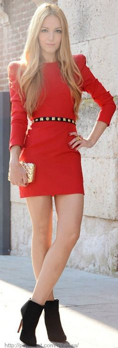 puff shoulder shift minidress + studded belt + ankle boots // dressmeSue... - Total Street Style Looks And Fashion Outfit Ideas