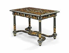 AN ITALIAN BRASS-MOUNTED IVORY-INLAID EBONY, FRUITWOOD AND GREEN-STAINED MARQUETRY CENTRE TABLE  ATTRIBUTED TO LUIGI AND ANGELO FALCINI, FLORENCE, MID-19TH CENTURY.