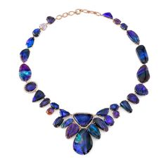 Irene Neuwirth Jewelry. One of a kind necklace with mixed Lightning Ridge Black Opals and Diamond Pave.  NOKOP.217