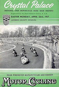 Poster for motorcycle race meeting at Crystal Palace, April Easter Monday, Forest Hill, Racing Motorcycles, Crystal Palace, London Photos, Motorcycle Bike, Vintage Bikes, Advertising Poster, Road Racing