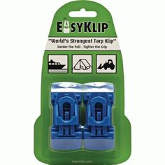 EasyKlip 4104 Midi Tarp Clip, Blue by Easyklip. $13.65. Available in blue color. These clips perform well on hemmed or on non hemmed plastics and fabrics. Highly effective clips for use on tarps clear poly sheets all types of fabric and anytime a method of fastening is required. Unique wedge-lock design that actually tightens the clips grip as it is pulled tighter or the load increases. Simple fast and effective means of replacing eyelets or creating fixing points wi...