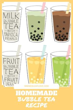 Did you know you can make your own yummy bubble tea from this easy DIY recipe at home? Here's how to make homemade boba tea just like the tea shops. You can even add different flavors if you want! Milk Tea Recipes, Jelly Recipes, How To Make Boba, Boba Tea Recipe, Bubble Tea Straws, Filipino Food, Filipino Recipes, How To Make Bubbles, Pearl Tea