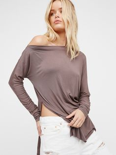 Luna Tee | Femme long sleeve tee with a super soft and stretchy fabrication. Side vents create an easy shape. Pretty and effortless off-the-shoulder neckline.
