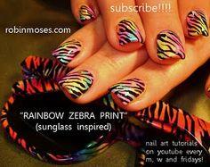 rainbow ZEBRA print nail art painted with eyeshadows tutorial  http://www.youtube.com/watch?v=qE-mVZVQl4o