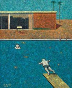 2008 A Dialogue With The Master. David Hockney's Swimming Pool (与大师对话 ─ 霍克尼的泳池) -- Liu Hong Wei (aka Liu Hongwei, b1965, Beijing, China)