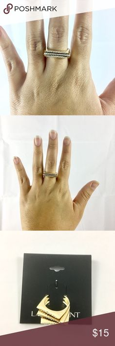 Lane Bryant 3 Stack Ring Brand new with tags. All gold plated metal with crystals stones. Set of 3 squared rings. Please choose a size below. Lane Bryant Jewelry Rings