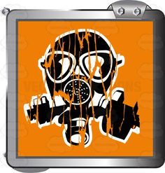 Black Gas mask On Orange Inside Grey Metal Square #airborne #breathe #caution #cover #danger #eyes #face #gas #inhale #label #lungs #mouth #nose #PDF #poison #protection #respirator #risk #safety #security #sign #symbol #threat #toxic #vectorgraphics #vectors #vectortoons #vectortoons.com #warning