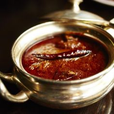 Wild boar vindaloo, a tongue-searing curry starring wild boar meat marinated in wine-vinegar and garlic.