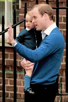 The Duke and Prince of Cambridge visiting the Duchess and Princess of Cambridge at hospital. 5/2/15