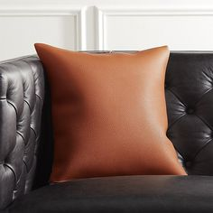 "16"" Hoops Brown Faux Leather Pillow with Down-Alternative Insert 