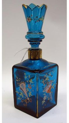 84: A MOSER GLASSWORKS ENAMELED BLUE GLASS PERFUME BOT : Lot 84