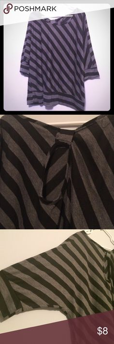 Black & Gray Stripe Dolman Top Stylish and soft. Tag is worn off but it's a 2X. Dolman sleeve and banded bottom. Looks great with skinny jeans and boots! Keyhole at the back. Very comfy and sexy. Don't forget to bundle and save! Tops Blouses