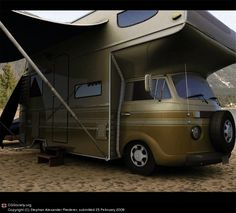 Safari styled VW looks a little top heavy. Bus Camper, Volkswagen Bus, Cool Campers, Happy Campers, Kombi Trailer, Trailers, Vw Camping, Glamping, Combi T1