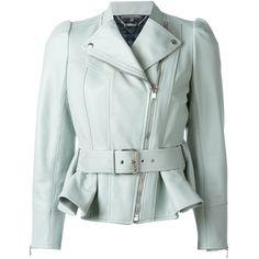 Alexander McQueen peplum biker jacket ($4,050) ❤ liked on Polyvore featuring outerwear, jackets, coats, leather jacket, green, biker jacket, peplum jacket, genuine leather jacket, 3/4 sleeve jacket and leather rider jacket