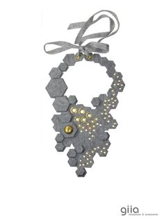 felt necklace gray