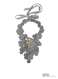 felt necklace gray