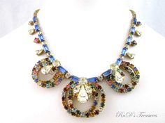 Vintage D&E Multi Color Blue Clear Red Rhinestone LOOP Gold Tone Necklace Choker